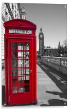 Big Ben Red Telephone box, Acrylic Print