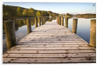 Jetty at Coniston Water with Yacht in Background, Acrylic Print