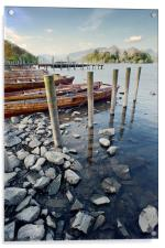 Boats and Poles on Derwent Water, Acrylic Print