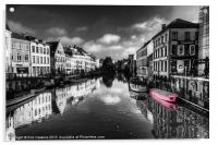 Reflections over Ghent with pink, Acrylic Print