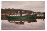 Boats reflected on Lough Neagh, Northern Ireland., Acrylic Print