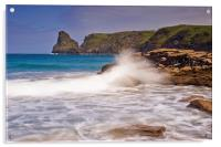 Barras Nose Bossiney Cornwall, Acrylic Print