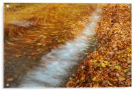 Abstract of autumnal leaves in the waves on Butter, Acrylic Print