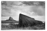 Fishermans Shed and Lindisfarne Castle, Acrylic Print