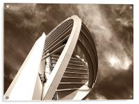 Spinnaker Tower - Close side view in sepia, Acrylic Print