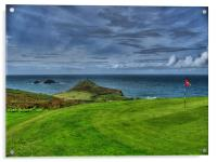 1st Green at Cape Cornwall Golf Club, Acrylic Print