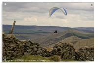 Paraglider over Rushup Edge, Acrylic Print