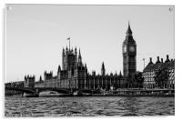 Westminster, black and white, Acrylic Print