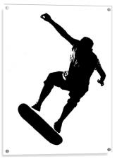 Skateboarder on White, Acrylic Print