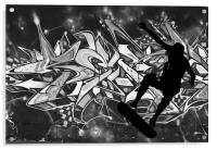 Skateboarder with Graffitti Background, Acrylic Print