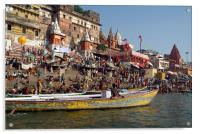 Sunday Bathing in Ganges at Ahilyabai Ghat, Varana, Acrylic Print