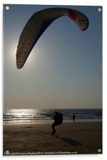 Learning to Paraglide Arambol, Acrylic Print