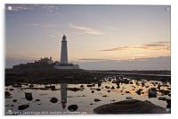 Lighthouse at Low Tide, Acrylic Print