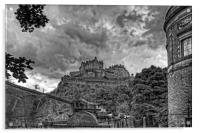 The Castle from St Cuthberts - B&W, Acrylic Print