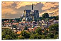 Arundel Cathedral and Village Rooftops, Acrylic Print