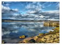 Kent Viaduct and Arnside Pier., Acrylic Print