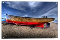Fishing boat on Deal beach, Acrylic Print
