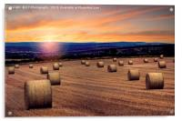 A Straw Bale Sunset - Over the fields to Sheffield, Acrylic Print