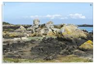 Rocks at low tide Iles Chausey, Acrylic Print