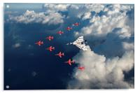 Red Arrows and Vulcan above clouds, Acrylic Print