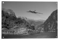 Vulcan leaving Milford Sound B&W version, Acrylic Print