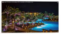 Evening picture of the swimming pool area on a res, Acrylic Print
