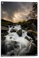 Ogwen Rhaeadr Waterfall from from Idwal Cottage, S, Acrylic Print