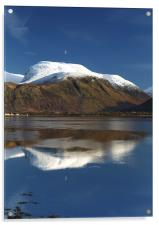 Moon above a snow-capped Ben Nevis, Acrylic Print
