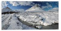 The road to Glen Etive in Winter - Panorama, Acrylic Print