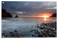 Talisker Bay and Spikes from the setting Sun, Acrylic Print