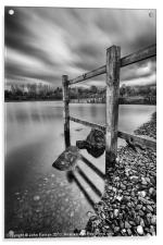 Fence in the loch, Acrylic Print