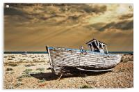 dungeness wreck in colour, Acrylic Print