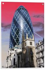 The Gherkin, London, Acrylic Print