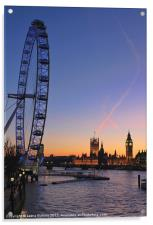 Sunset on river Thames, Acrylic Print