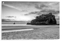 Broadhaven Beach in Monochrome, Acrylic Print