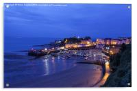 Tenby harbour at night, Acrylic Print