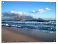 Table Mountain, Cape Town, Bloubergstrand, Acrylic Print