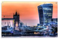 Tower Bridge and the Walkie Talkie Building, Acrylic Print