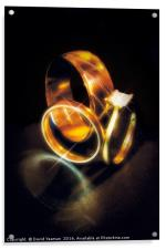 Gold Engagement and Wedding Rings, Acrylic Print