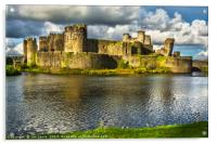 Caerphilly Castle Walls, Acrylic Print
