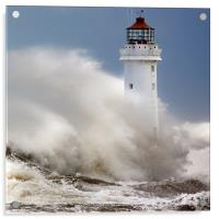 New Brighton lighthouse Facing the fury, Acrylic Print