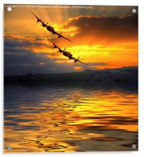 The Two Lancasters at Sunset 2, Acrylic Print
