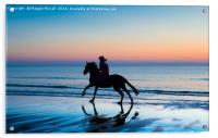 Silhouette of Horse and rider on Beach at sunset, Acrylic Print