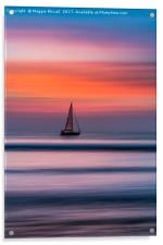 Yacht Sailing At Sunset, Acrylic Print