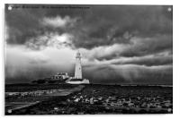 Storm clouds over St Mary's Island, Acrylic Print