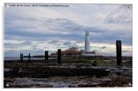 St Mary's Island at low tide., Acrylic Print