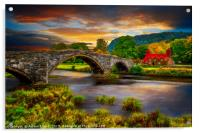 Llanrwst Ivy Cottage and Bridge, Acrylic Print