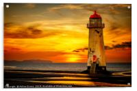Sunset At The Point of Ayr Lighthouse, Acrylic Print