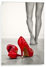 Kicking off Red High Heels, Acrylic Print