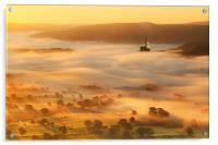 Golden mists over castleton, Acrylic Print